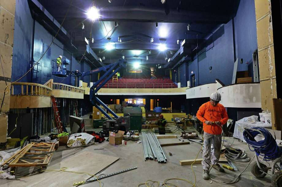 Workman labor in February 2017 to complete the renovated Wall Street Theater in Norwalk, Conn. Photo: Erik Trautmann / Hearst Connecticut Media / Norwalk Hour