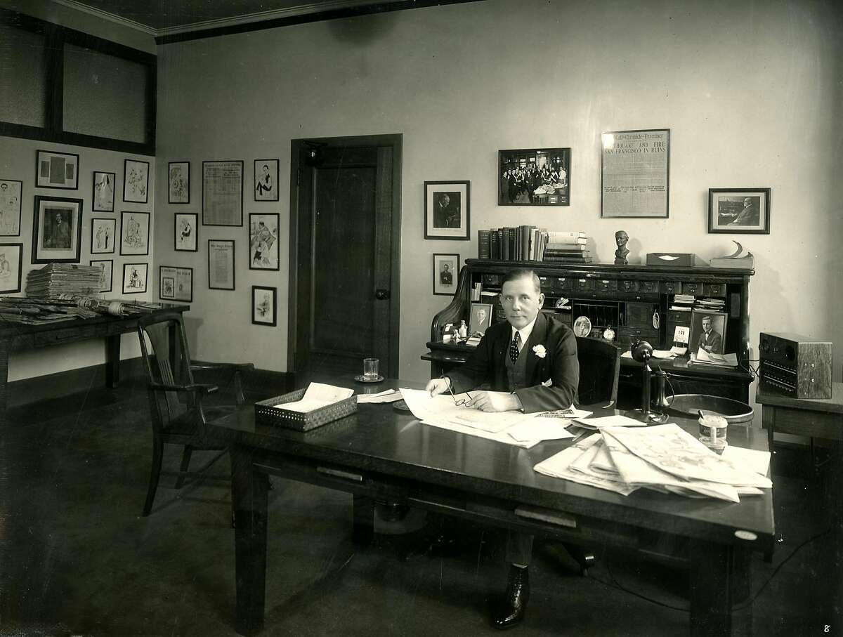 Arthur L. Clarke, Editor in Chief in the new San Francisco Chronicle building at 5th and Mission streets in 1924. There's a copy of the paper that came out on April 19, 1906, the day after the earthquake and fire, hanging on the wall. It was a combined paper for the Chronicle, Examiner and Call. Photo by Gabriel Moulin Studio