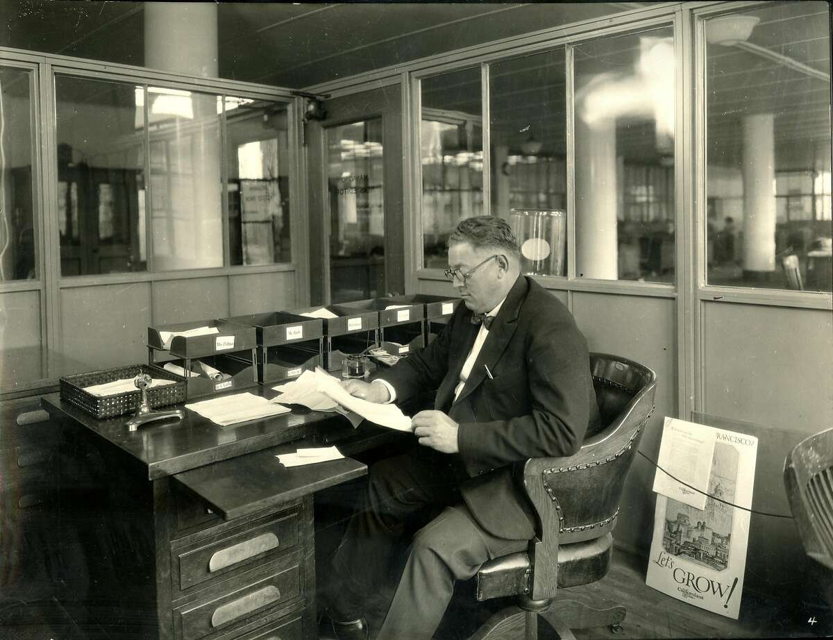Karl M. Anderson, Managing News Editor in the new San Francisco Chronicle building at 5th and Mission Streets in 1924. Photo by Gabriel Moulin Studio.