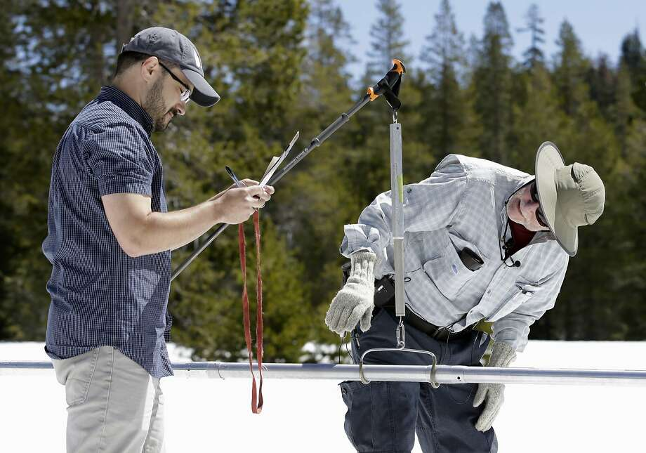 Frank Gehrke (right), chief of the California Cooperative Snow Surveys Program for the Department of Water Resources, checks   snowpack weight on a scale held by DWR's Wes McCandless  at Phillips Station, near Echo Summit (Eldorado County). Photo: Rich Pedroncelli, Associated Press