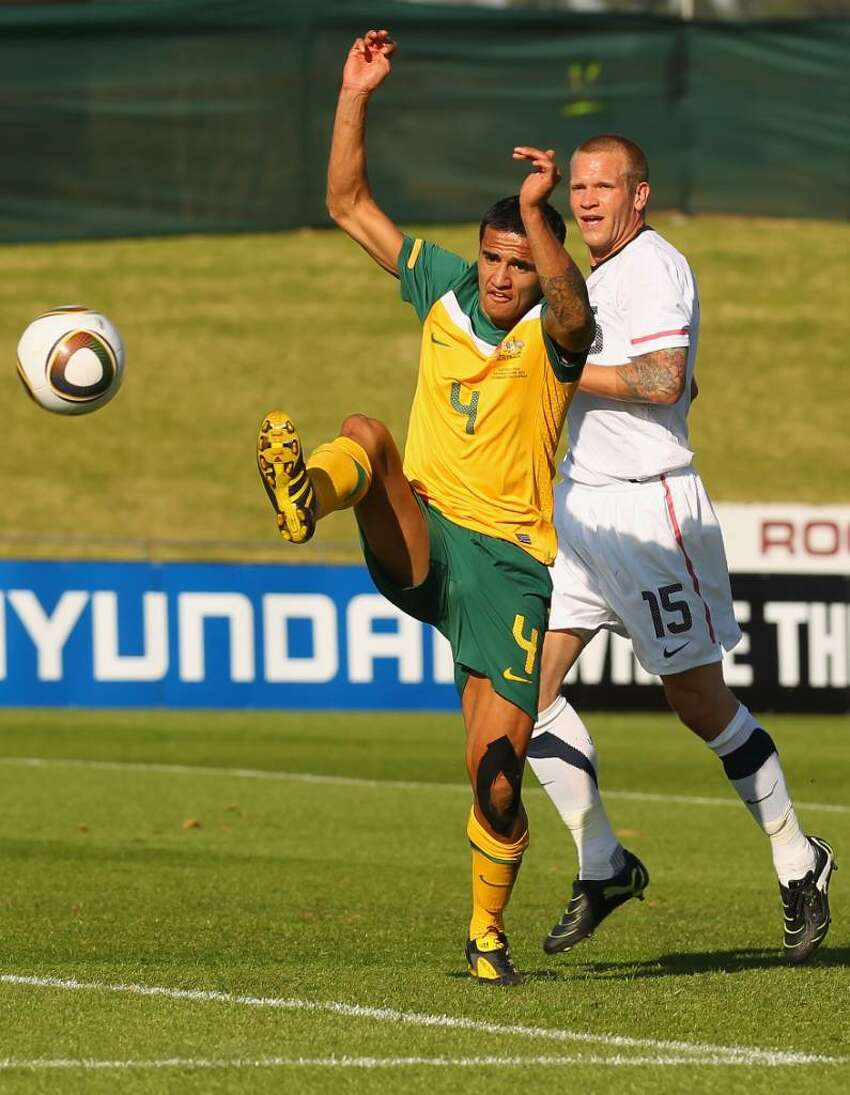 ROODEPORT, SOUTH AFRICA - JUNE 05: Tim Cahill of Australia looks to control the ball during the International Friendly between the Australian Socceroos and the USA at Ruimsig Stadium on June 5, 2010 in Roodeport, South Africa. (Photo by Robert Cianflone/Getty Images) *** Local Caption *** Tim Cahill