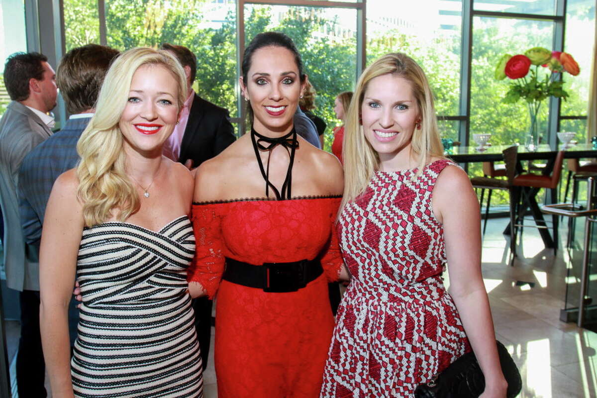 Taryn Burt, from left, Katherine Poncik and Lauren Worsham at the Raising the Barre dinner at Cafe Annie hosted by the Houston Ballet's young professionals group. (For the Chronicle/Gary Fountain, April 30, 2017)