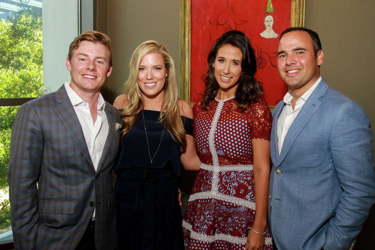 Chairs Austin and Holly Alvis, from left, and Rachel and Sebastien Solar at the Raising the Barre dinner at Cafe Annie hosted by the Houston Ballet's young professionals group. (For the Chronicle/Gary Fountain, April 30, 2017)