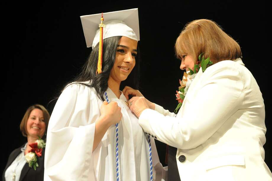 Graduating in alphabetical order, Ajin Yousif, of Bridgeport was the final graduate of the Bridgeport Hospital School of Nursing, seen here during commencement exercises held at the University of Bridgeport, in Bridgeport, Conn. May 1, 2017. Photo: Ned Gerard / Hearst Connecticut Media / Connecticut Post