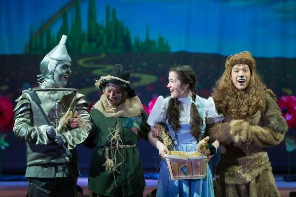 "From left to right, some of the main characters in Bethlehem High School's ""The Wizard of Oz"" production: Jack Mastrianni, Tinman/Hickory (nominated for Best Actor), McKenzie Koch, Scarecrow/Hunk (nominated for Best Actress), Hunter Frederick, Dorothy;  Ian Christopher Myers, Cowardly Lion/Zeke."