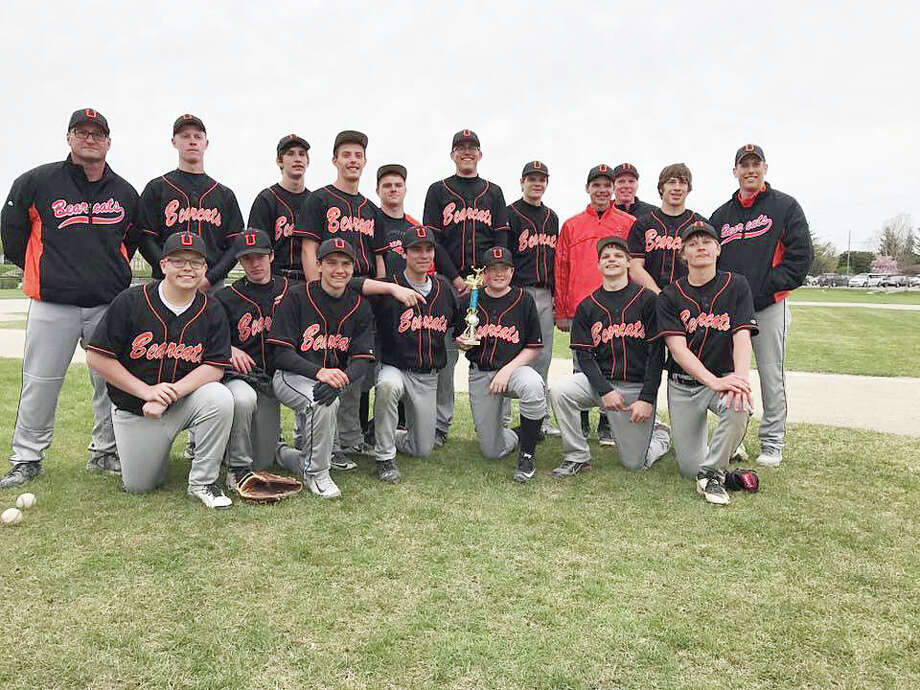Members of the Ubly baseball pose after winning its own tournament, Saturday, in Ubly.