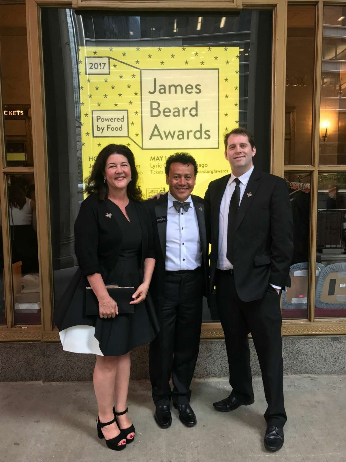 Tracy Vaught, Hugo Ortega and Sean Beck in Chicago before the 2017 James Beard Award ceremony.