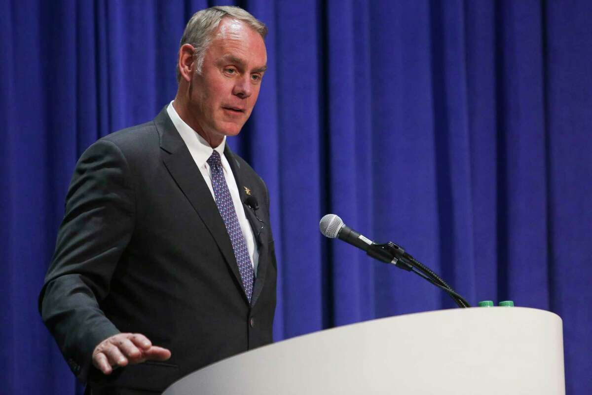 US Secretary of the Interior Ryan Zinke speaks during a panel at the Offshore Technology Conference at NRG Center Monday, May 1, 2017 in Houston. ( Michael Ciaglo / Houston Chronicle)