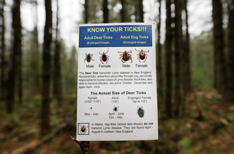 In this photo made Friday, May 9, 2014, an informational card about ticks distributed by the Maine Medical Center Research Institute is seen in the woods in Freeport, Maine. State officials say ticks are back with a vengeance, meaning tick-borne illnesses like Lyme disease will see no wain. No wane is expected in Lyme nationwide, either, in part because of climate change. (AP Photo/Robert F. Bukaty) Photo: Robert F. Bukaty / AP