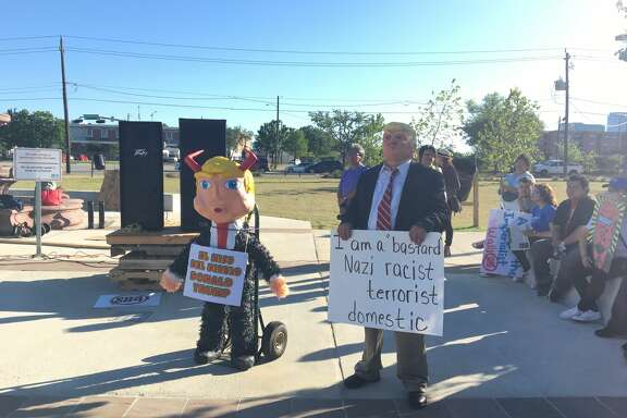 Protesters showed up at Guadalupe Park Plaza to oppose President Donald Trump and support immigrants and workers on May Day.