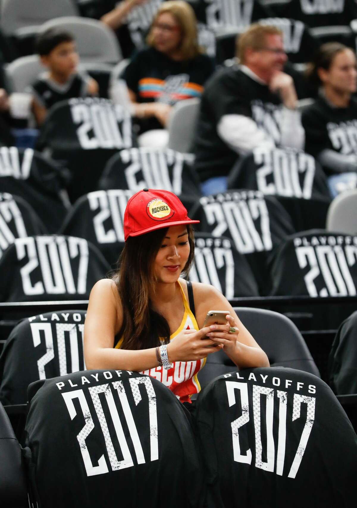 A Rockets fan prepares for the first half of Game 1 of the second-round of the Western Conference NBA playoffs at AT&T Center, Monday, May 1, 2017, in San Antonio. ( Karen Warren / Houston Chronicle )