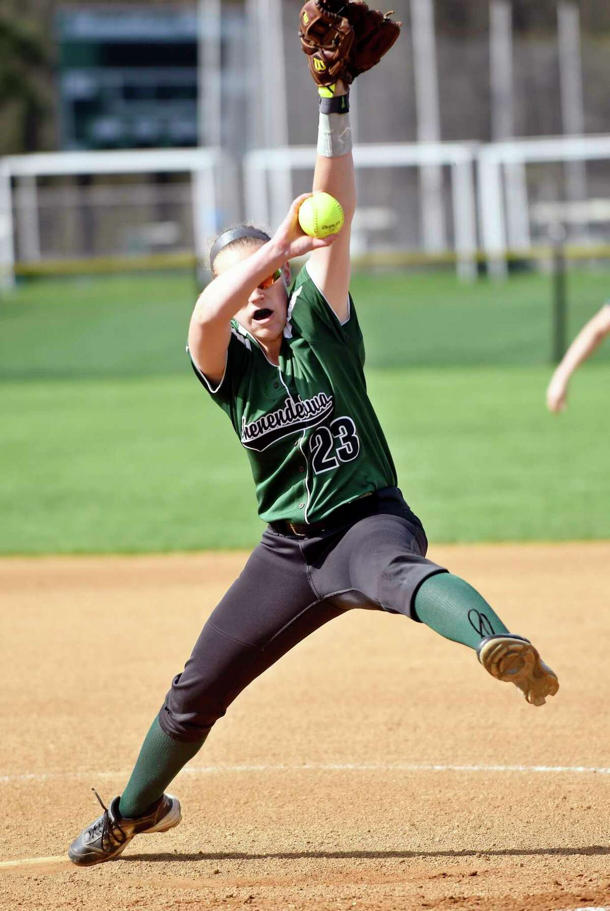Shenendehowa's Nicole McCarvill (23) pitches against Colonie during a Section II Class AA girls high school softball game in Clifton Park, N.Y., Monday, May 1, 2017. (Hans Pennink / Special to the Times Union) ORG XMIT: HP101