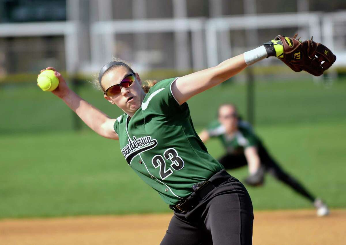 Shenendehowa's Nicole McCarvill (23) pitches against Colonie during a Section II Class AA girls high school softball game in Clifton Park, N.Y., Monday, May 1, 2017. (Hans Pennink / Special to the Times Union) ORG XMIT: HP102