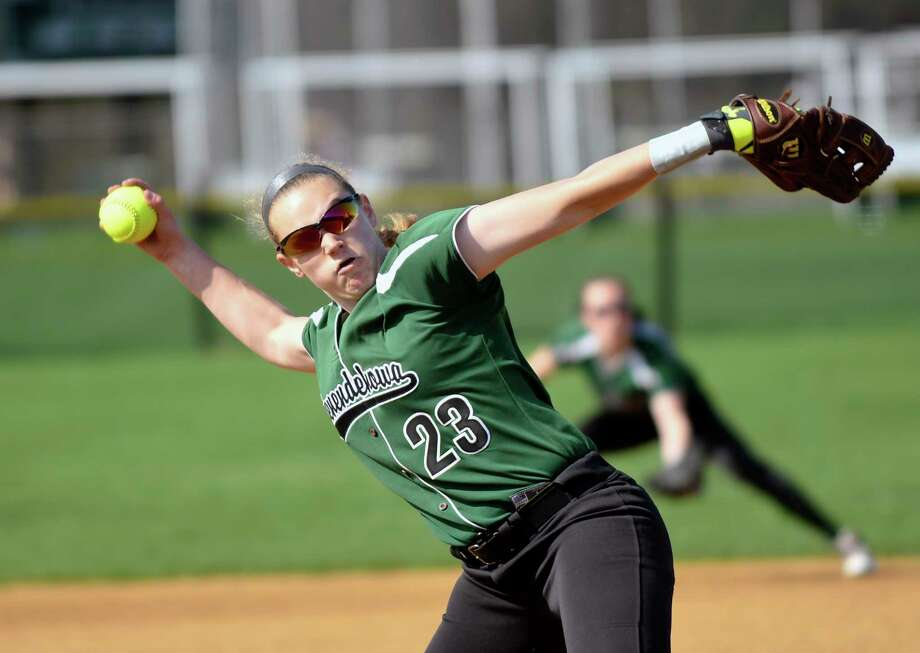 Shenendehowa's Nicole McCarvill (23) pitches against Colonie during a Section II Class AA girls high school softball game in Clifton Park, N.Y., Monday, May 1, 2017. (Hans Pennink / Special to the Times Union) ORG XMIT: HP102 Photo: Hans Pennink / 20040388A