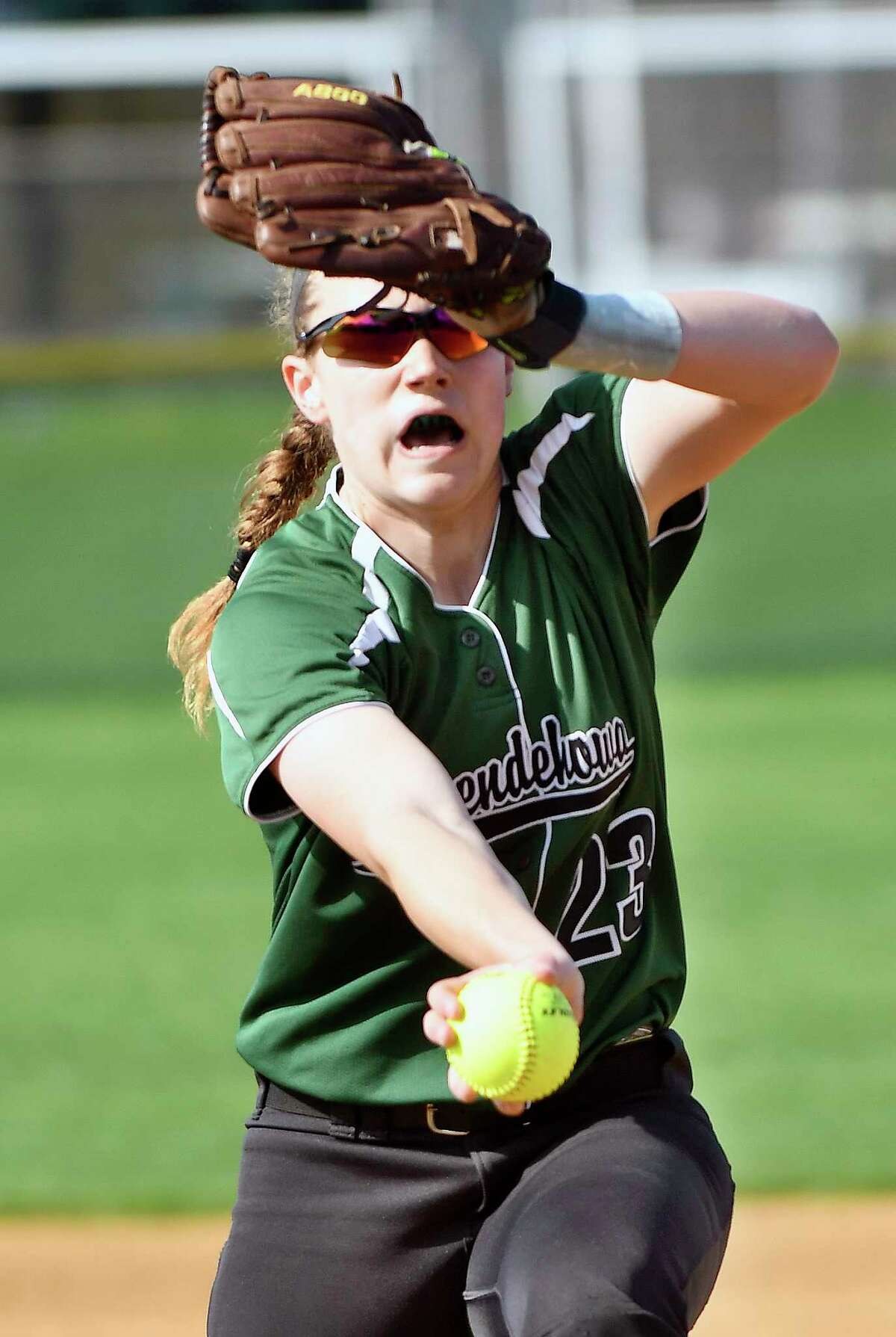 Shenendehowa's Nicole McCarvill (23) pitches against Colonie during a Section II Class AA girls high school softball game in Clifton Park, N.Y., Monday, May 1, 2017. (Hans Pennink / Special to the Times Union) ORG XMIT: HP103