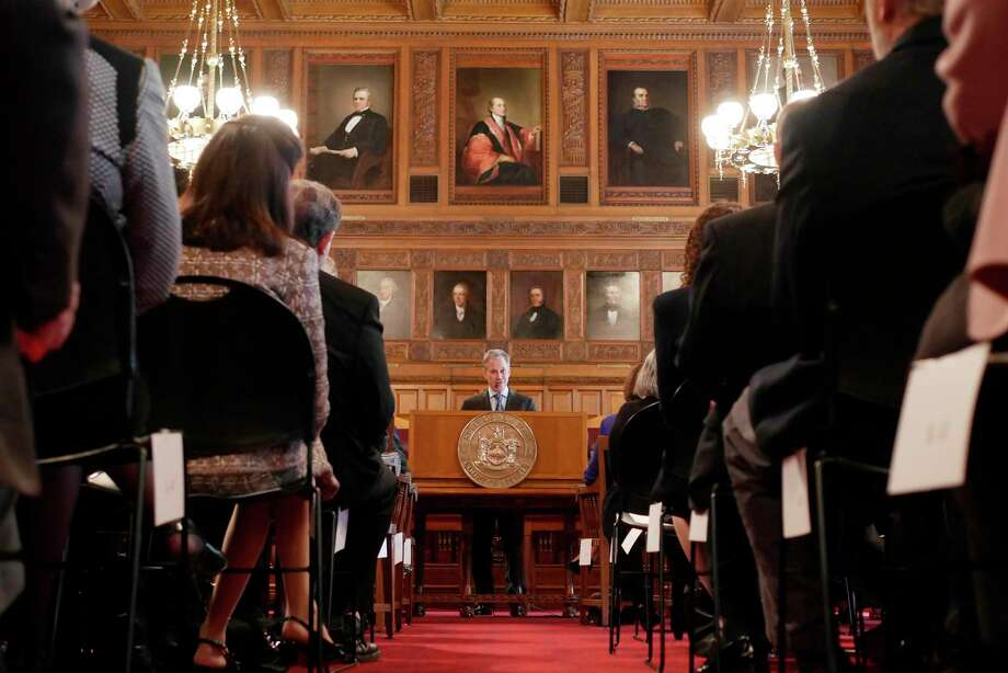 New York State Attorney General, Eric Schneiderman, addresses those gathered for a Law Day ceremony at the New York State Court of Appeals on Monday, May 1,  2017, in Albany, N.Y.    (Paul Buckowski / Times Union) Photo: Unable To Staff / 40040392A