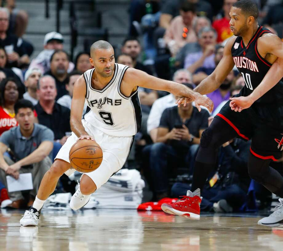 San Antonio Spurs guard Tony Parker (9) drives around Houston Rockets guard Eric Gordon (10) during the second half of Game 1 of the second-round of the Western Conference NBA playoffs at AT&T Center,  Monday, May 1, 2017, in San Antonio. ( Karen Warren / Houston Chronicle ) Photo: Karen Warren/Houston Chronicle