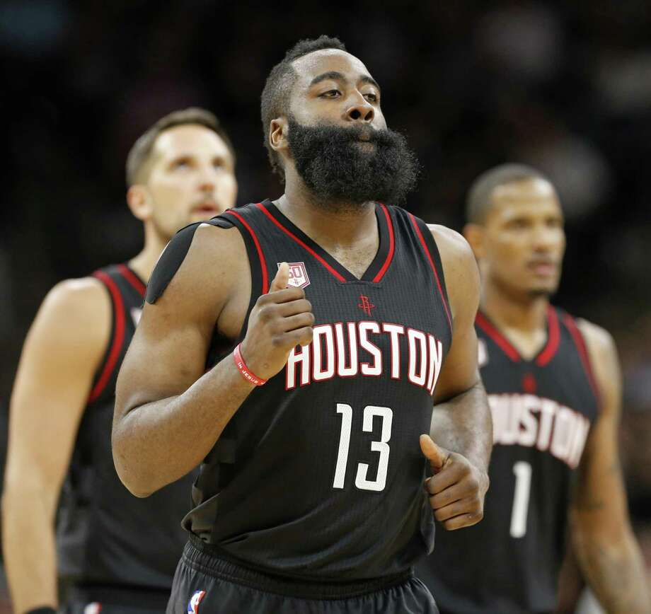 Houston RocketsÕ James Harden heads to the bench during a timeout in second half action of Game 1 in the Western Conference semifinals against the San Antonio Spurs held Monday May 1, 2017 at the AT&T Center. Photo: Edward A. Ornelas, Staff / San Antonio Express-News / © 2017 San Antonio Express-News