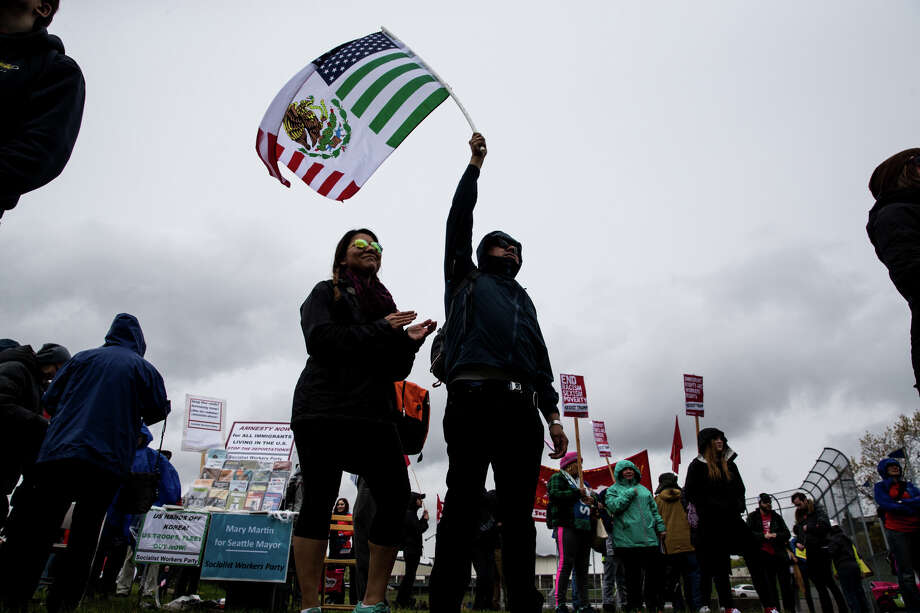 A smaller, but lively crowd gathers at Judkins Park for the Immigrant and Labor Rights March on Monday, May 1, 2017. Photo: GRANT HINDSLEY, SEATTLEPI.COM / SEATTLEPI.COM
