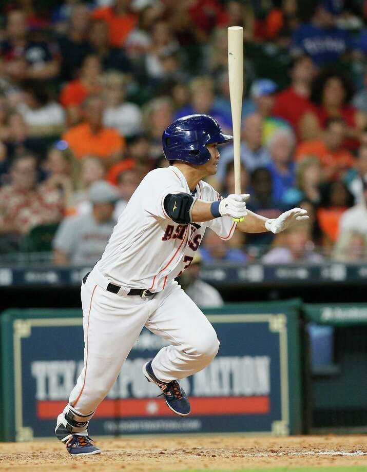 HOUSTON, TX - MAY 01:  Norichika Aoki #3 of the Houston Astros singles in the seventh inning against the Texas Rangersat Minute Maid Park on May 1, 2017 in Houston, Texas.  (Photo by Bob Levey/Getty Images) ORG XMIT: 700010612 Photo: Bob Levey / 2017 Getty Images