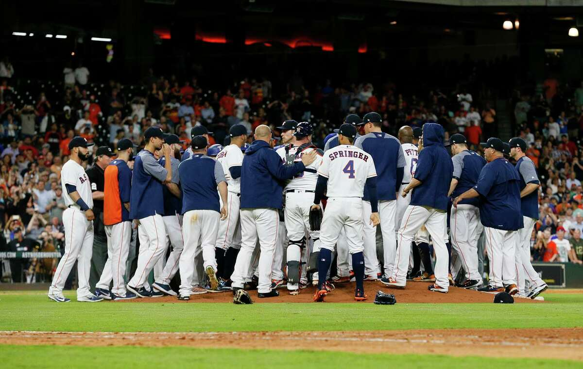Both benches emptied in the sixth inning after Lance McCullers Jr. of the Houston Astros threw a pitch behind Mike Napoli of the Texas Rangers at Minute Maid Park on May 1, 2017 in Houston, Texas. (Photo by Bob Levey/Getty Images)