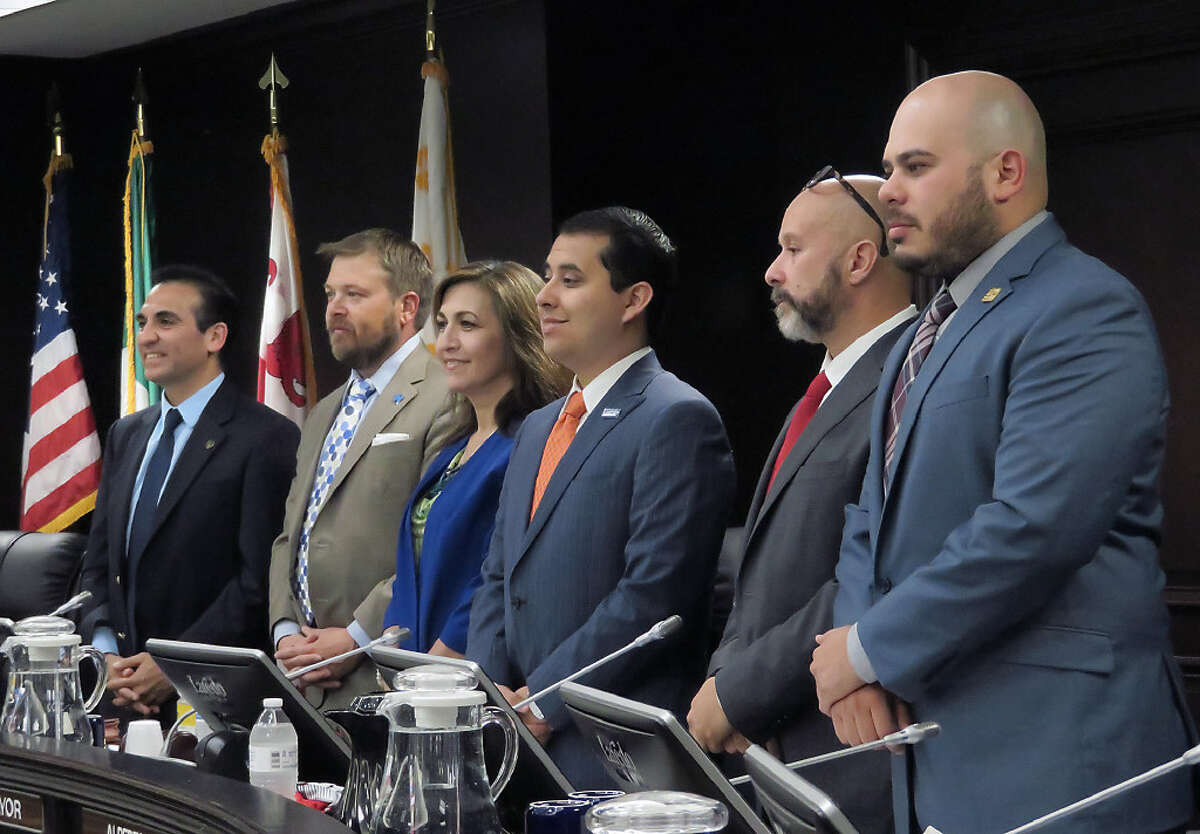 City Council members present at their regular meeting of Monday, May 1, 2017, are from left, Roberto Balli, District 8; George J. Altgelt, District 7; Nelly Vielma, District 5; Alberto Torres Jr., District 4; Alejandro Perez, District 3 and Vidal Rodriguez, District 2.