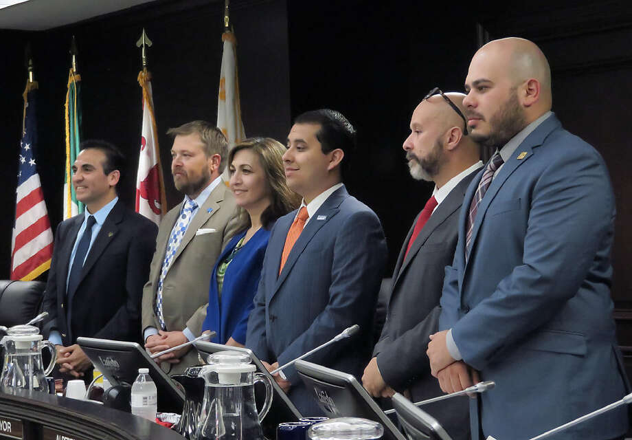 City Council members present at their regular meeting of Monday, May 1, 2017, are from left, Roberto Balli, District 8; George J. Altgelt, District 7; Nelly Vielma, District 5; Alberto Torres Jr., District 4; Alejandro Perez, District 3 and Vidal Rodriguez, District 2. Photo: Cuate Santos/Laredo Morning Times