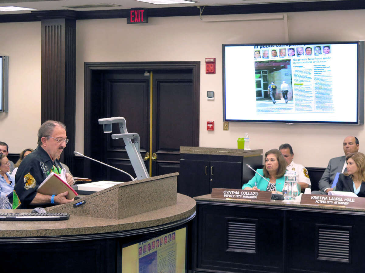 John Stabile, used a story regarding the recent FBI investigation of city government ,as he addressed council members, Monday, May 1, 2017, at the city council meeting.