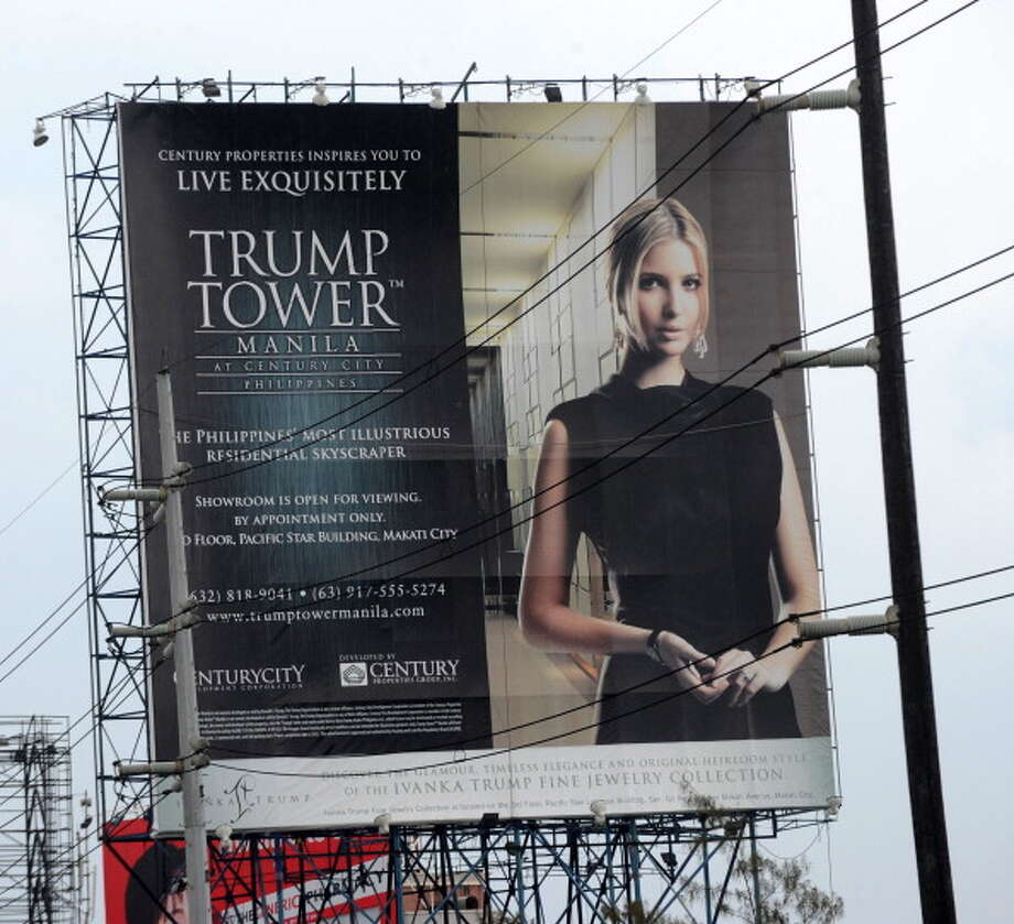 Ivanka is presented as a façade, a knockoff – something easy on the eyes, but imminently forgettable. In this photo: She appears on a billboard advertising a new Trump Tower in the Philippines. Photo: Getty Images / 2012 AFP