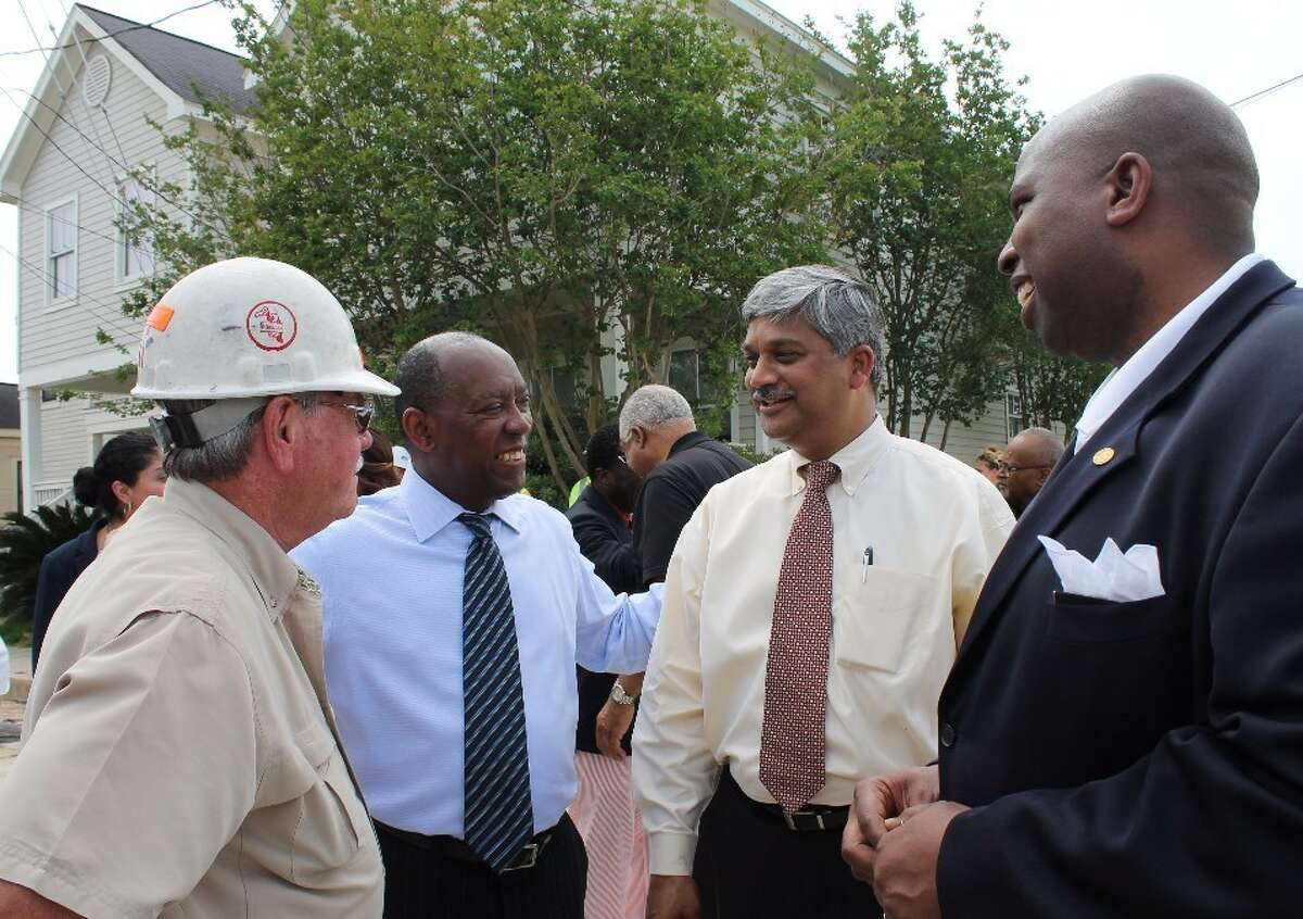 Mayor Sylvester Turner lays a brick as part of a ceremony to kick off the re-installation of historic bricks made by freed slaves in Houston's Freedmen's Town on Friday, April 28, 2017. The following week it turned out many of the bricks were not original. (Courtesy of City of Houston)