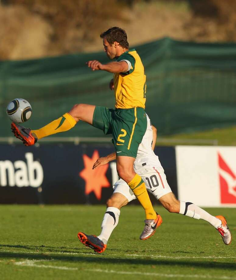 ROODEPOORT, SOUTH AFRICA - JUNE 01: Lucas Neill of Australia controls the ball during the International Friendly between the Australian Socceroos and the USA at Ruimsig Stadium on June 5, 2010 in Roodepoort, South Africa. (Photo by Robert Cianflone/Getty Images) *** Local Caption *** Lucas Neill Photo: Robert Cianflone, Getty Images / 2010 Getty Images