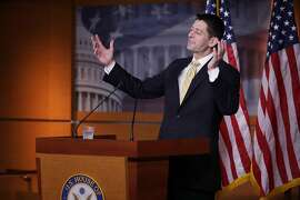 WASHINGTON, DC - APRIL 27:  Speaker of the House Paul Ryan (R-WI) talks to reporters during his weekly news conference at the U.S. Capitol Visitors Center April 27, 2017 in Washington, DC. Ryan took questions about ongoing negotiations between House leadership and the conservative Freedom Caucus over the legislation to repeal and replace the Affordable Care Act.  (Photo by Chip Somodevilla/Getty Images) *** BESTPIX ***