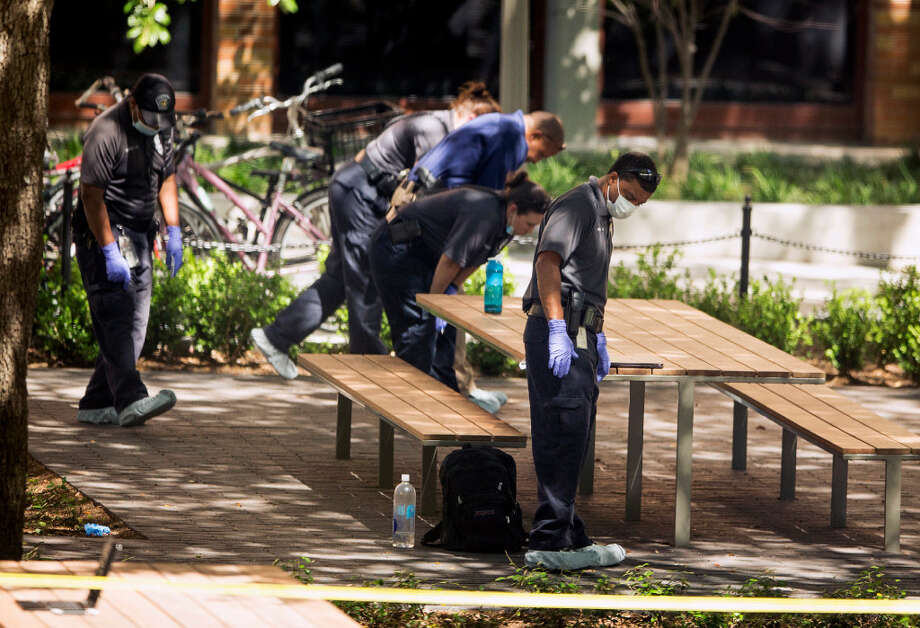 Officials investigate after a fatal stabbing attack at the University of Texas campus on Monday. Photo: Associated Press