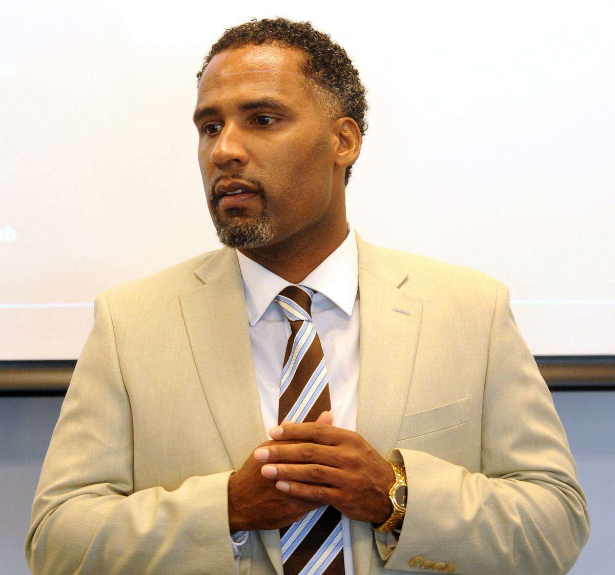 Bridgeport City Council voted Monday, May 1, 2017 to approve the settlement paying $65,000 to settle a federal discrimination lawsuit filed by Sgt. Lonnie Blackwell. Blackwell was demoted last year in connection with a fake racist letter that was disseminated around the police department.