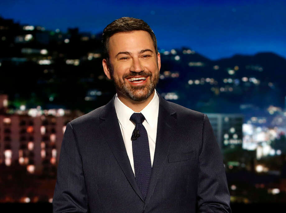 "In this April 11 photo, host Jimmy Kimmel appears during a taping of ""Jimmy Kimmel Live,"" in Los Angeles. Kimmel says his newborn son is home and doing great after open-heart surgery. A tearful Kimmel turned his show's monologue Monday into an emotional recounting of the crisis with what Kimmel called a ""happy ending."" Photo: Associated Press"