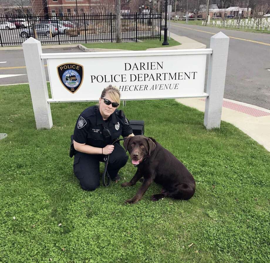 Officer Leslie Silva and Grizzly, who retired as of April, 11, 2017 from the police department in Darien, CT due to an inoperable tumor. Photo: Contributed Photo / Contributed Photo / Darien News