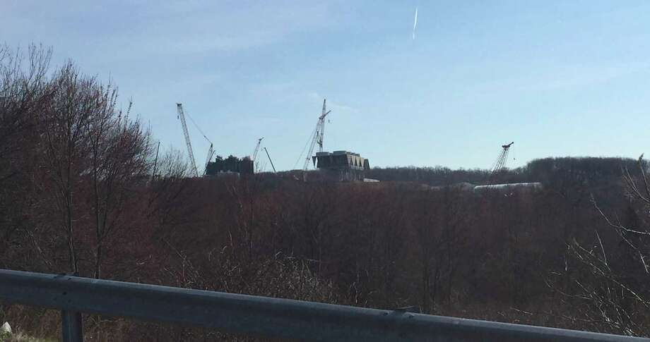 Work continues on a natural-gas-fired power plant on Woodruff Hill Road in Oxford, as seen from Waterbury-Oxford Airport, in April 2017. Photo: Contributed Photo