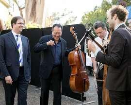 Backstage at Gala for the Greek II, Cal Performances Executive Director Matias Tarnopolsky with Yo-Yo Ma, Edgar Meyer and Chris Thile