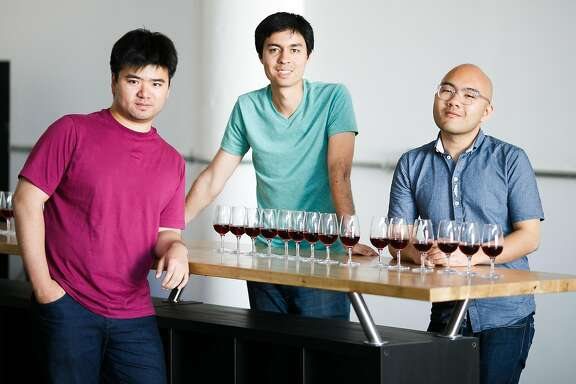 From the left, co-founders, Mardonn Chua, Alec Lee and, Josh Decolongon photographed at Ava Winery's lab in San Francisco, Calif. Monday, May 1, 2017.