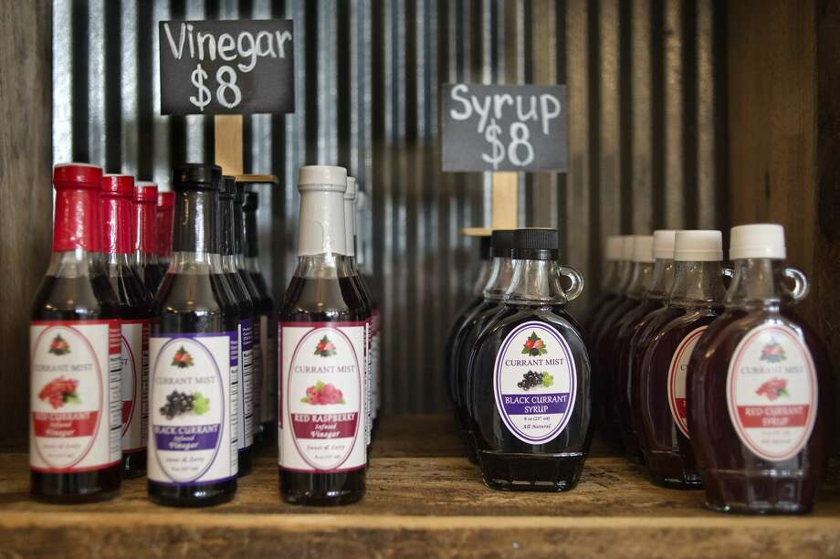 """Ten wines along with vinegars and syrups are available for purchase at Currant Mist Winery and Tasting Room which opened April 13 in Coleman. The Jerry and Julia Coon use gooseberries, red currants and black currants grown on their farm, Coon's Berry Farm, to make wines, syrups, vinegars and teas. The winery and tasting room is open Tuesday to Thursday 11a.m.- 7 p.m., Friday to Saturday 11a.m. - 8 p.m. and Sunday 12 p.m. - 5 p.m. """"We're breaking ground, no one knows what black currant tastes like,"""" Jerry said. Photo: Brittney Lohmiller/Midland Daily News/Brittney Lohmiller"""