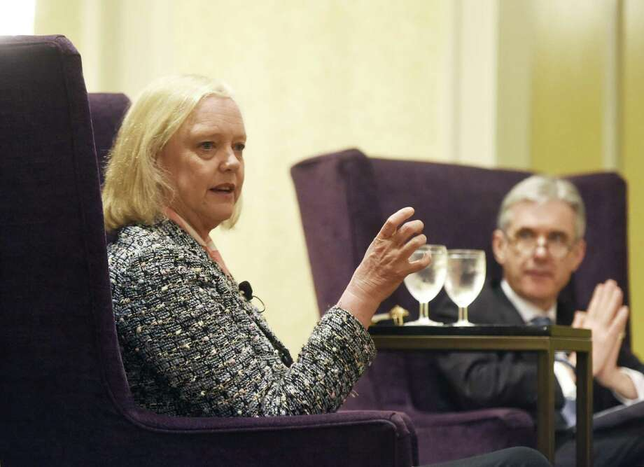 Helwett Packard Enterprise President and CEO Meg Whitman speaks beside moderator Dominic Casserley at the Family Centers Titan Series Breakfast at the Stamford Marriott in Stamford, Conn. Tuesday, May 2, 2017. Whitman spoke about her time as President and CEO of eBay where she oversaw its growth from $4 million in revenue to more than $8 billion, as well as her success in leading the turnaround at HP by separating it into two companies, HP Inc. and Helwett Packard Enterprise. Photo: Tyler Sizemore / Hearst Connecticut Media / Greenwich Time