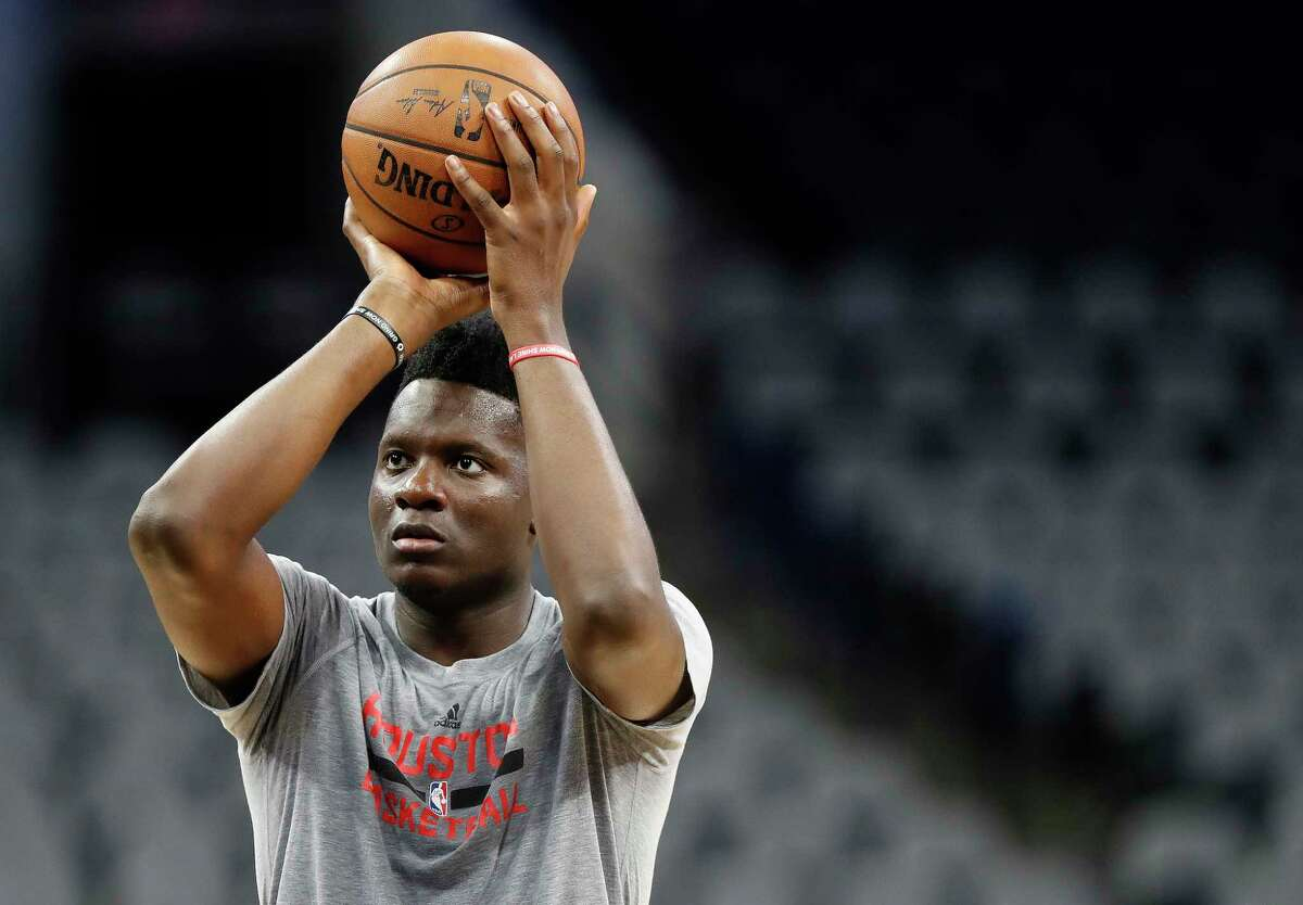 Houston Rockets center Clint Capela shoots baskets during Rockets practice as they prepare for Game 2 of the second-round of the Western Conference NBA playoffs at AT&T Center, Tuesday, May 2, 2017, in San Antonio.