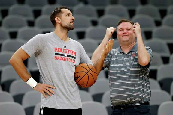 Rockets GM Daryl Morey jokes around with Ryan Anderson during Rockets practice as they prepare for Game 2 of the second-round of the Western Conference NBA playoffs at AT&T Center,  Tuesday, May 2, 2017, in San Antonio.