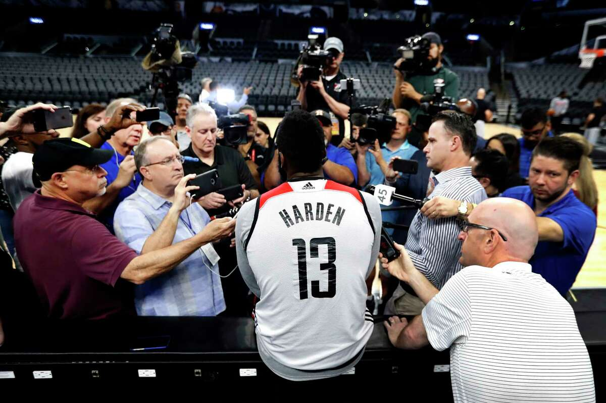 James Harden speaks to the media during Rockets practice as they prepare for Game 2 of the second-round of the Western Conference NBA playoffs at AT&T Center, Tuesday, May 2, 2017, in San Antonio.