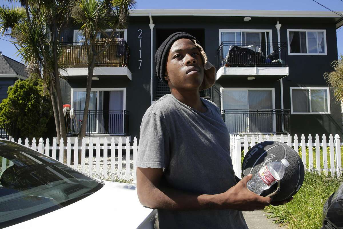 21-year-old Hasinnie Bennett, where he lives with his grandparents in a ten unit housing complex on 2100 block of E 15th St. in the San Antonio neighborhood of Oakland, Ca. on Tuesday May 2, 2017. Bennett said he remembers inspectors dropping by several months ago and finding one of their smoke detectors that needed to be replaced. The city of Oakland's pilot inspection program, which recently ended, in which fire inspectors examined more than 200 apartment buildings with the following characteristics: they had six or more units, three or fewer stories and were located in Oakland's San Antonio and East Lake neighborhoods.