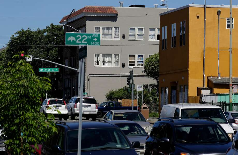 A file photo of a multi-unit housing along International Blvd. in the San Antonio neighborhood of Oakland. The city' system of penalizing landlords for bad conditions in their 