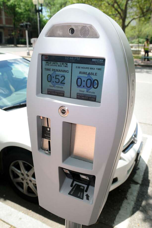 One of the new parking meters have been installed in Bridgeport, Conn. June 29, 2016. Photo: Ned Gerard / Hearst Connecticut Media / Connecticut Post