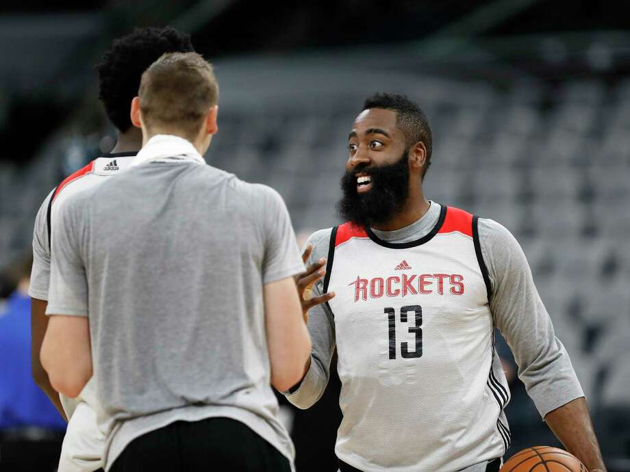 Houston Rockets guard James Harden laughs with center Clint Capela during Rockets practice as they prepare for Game 2 of the second-round of the Western Conference NBA playoffs at AT&T Center,  Tuesday, May 2, 2017, in San Antonio. ( Karen Warren / Houston Chronicle ) Photo: Karen Warren, Staff Photographer / 2017 Houston Chronicle