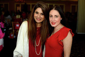 Faiza Anwar and Scarlett Snider at the American Heart Association's Go Red for Women luncheon at the Beaumont Country Club on Tuesday.   Photo taken Tuesday 5/2/17 Ryan Pelham/The Enterprise