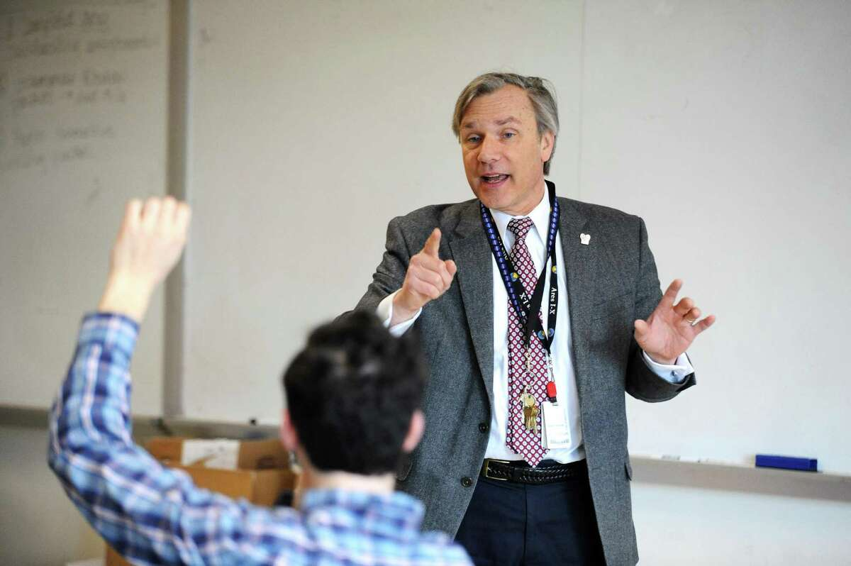 AITE math teacher Vin Urbanowski, the Stamford Teacher of the Year, leads a discussion during his Intro to Aerospace Engineering class inside AITE in Stamford, Conn. on Tuesday, May 2, 2017.